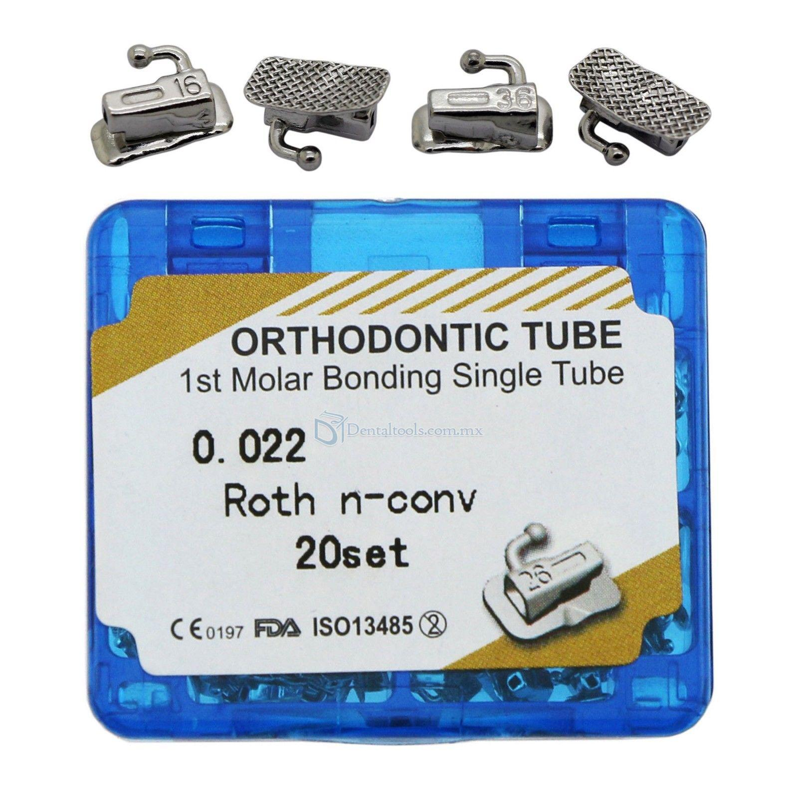 20 Sets Ortodoncia Bonding Solo Buccal Tubo 1ra Molar Roth 022 Slot