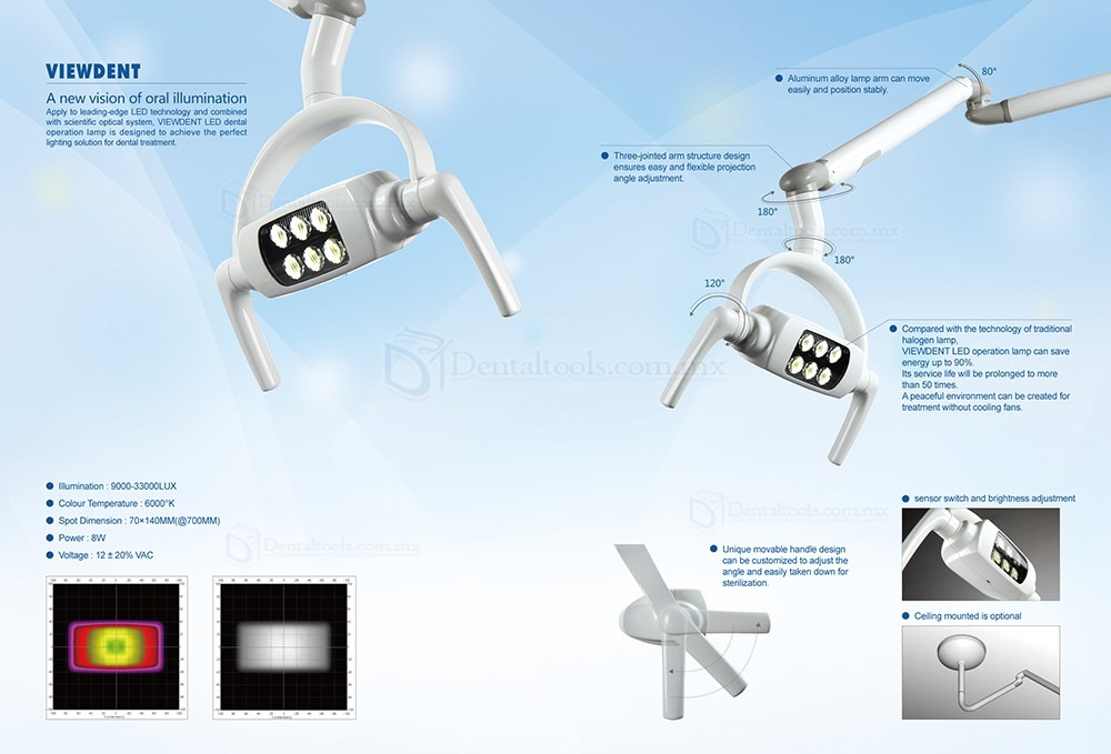 8W LED lámpara de diagnóstico dental de techo con Brazo PT